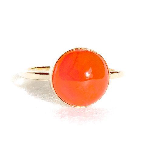 カーネリアン スタック リング 10mm 14KGF オレンジ色 重ねづけ 天然石ジュエリー