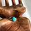 Monsteraleaf ターコイズ スタッキング シルバー ファッション リング 8mm 重ねづけ 天然石ジュエリー