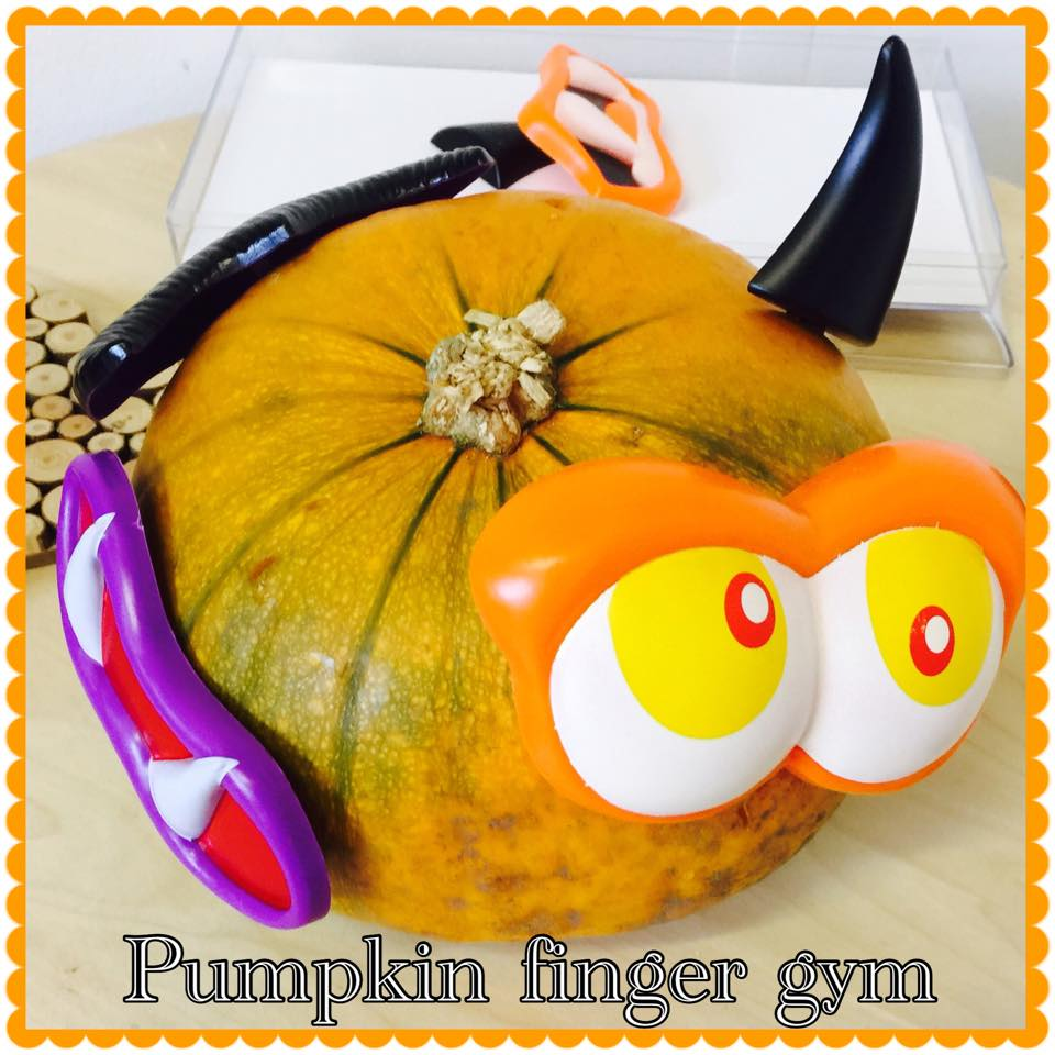 Funky pumpkin finger gym