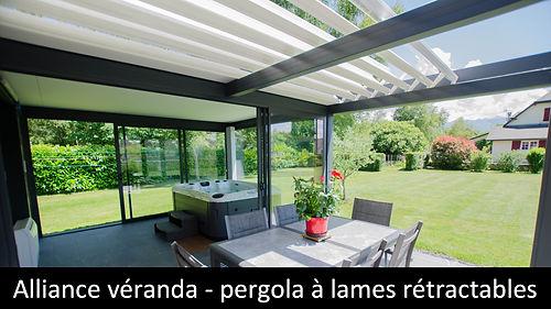 ESPACE LOUNGE model ESPACIUM veranda toiture plate ZENITH avec pergola SKY LOUNGE toiture retractable isolee horeca particulier suna-protekto