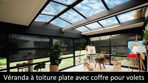ESPACE LOUNGE veranda EQUINOXE toiture plate super isolant integration volet roulant ou store sun protekto