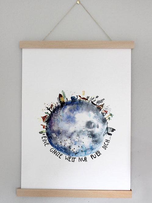 """Halfbird Kunstdruck """"Eine ganze Welt nur für Dich"""""""