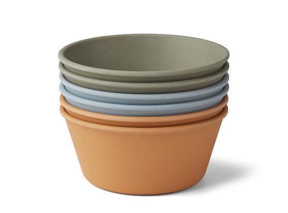 Liewood Greta bamboo bowl 6-pack Blue multi mix