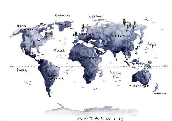 Halfbird Kunstdruck Weltkarte