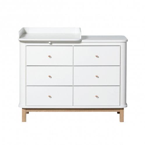 Oliver Furniture Wood Wickelkommode weiß/Eiche mit kleiner Platte