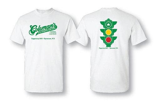 "Coleman's ""traffic light"" short sleeve white tee"