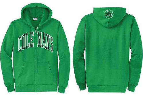 Coleman's Green Zip-Up Hoodie