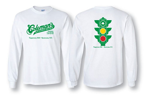 "Coleman's ""Traffic Light"" long sleeve white tee"