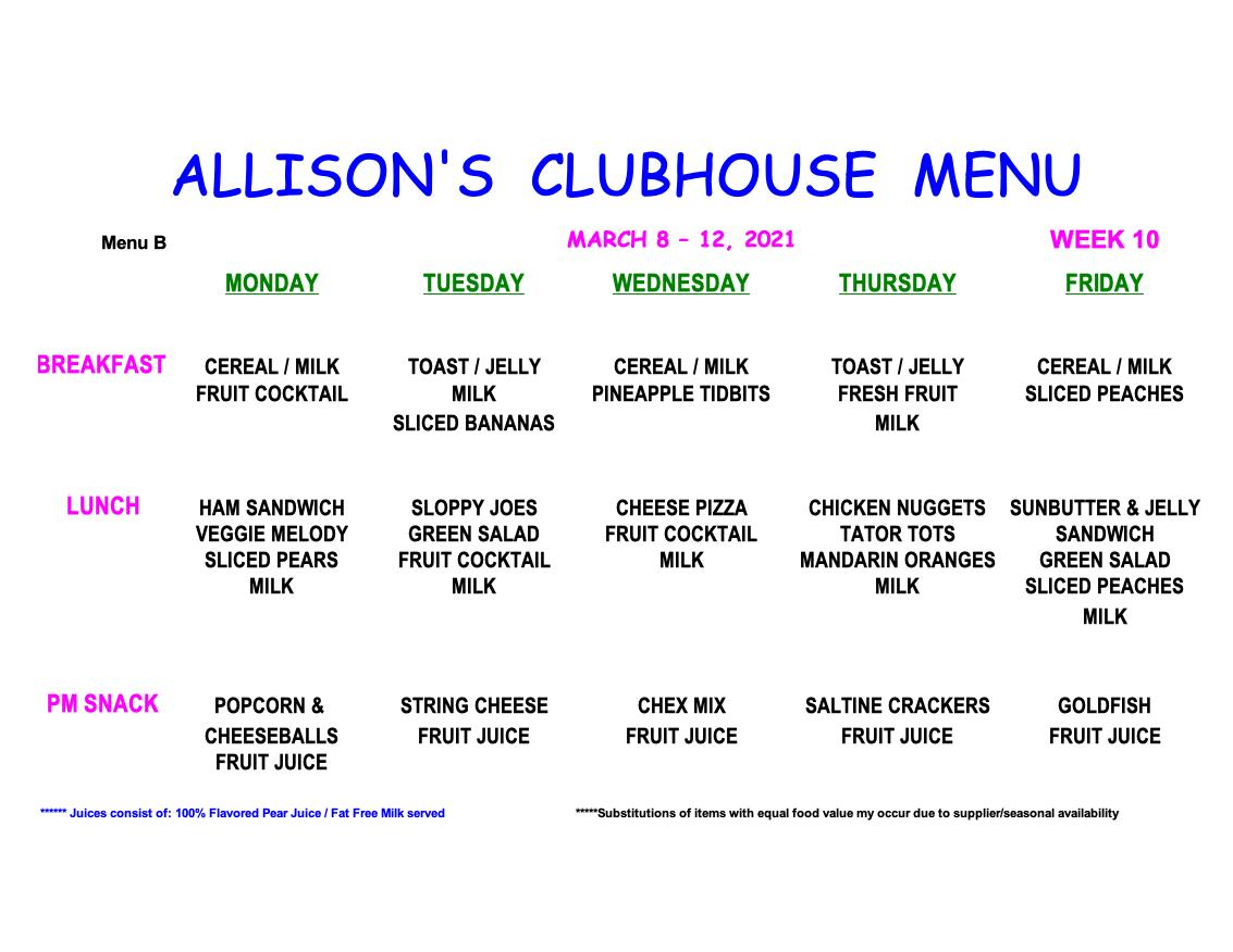 MENU-WEEK 10club