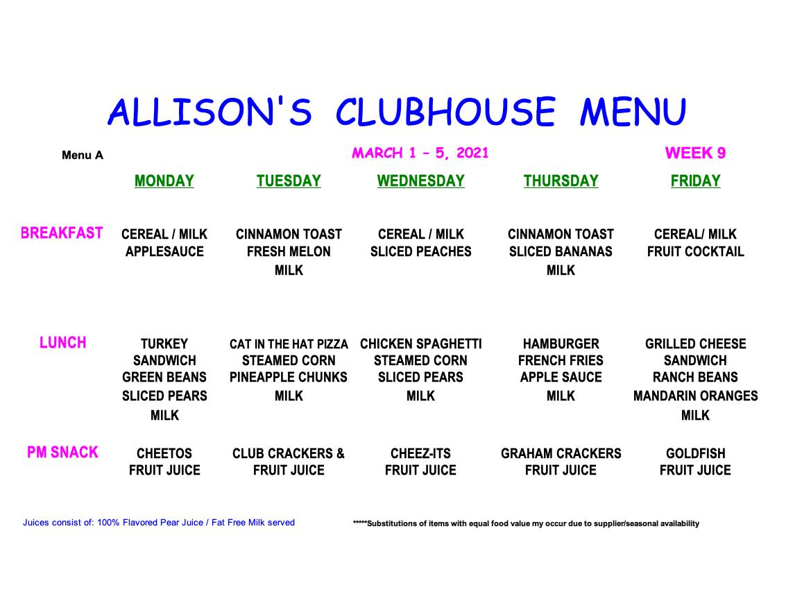MENU-WEEK 9Aclub