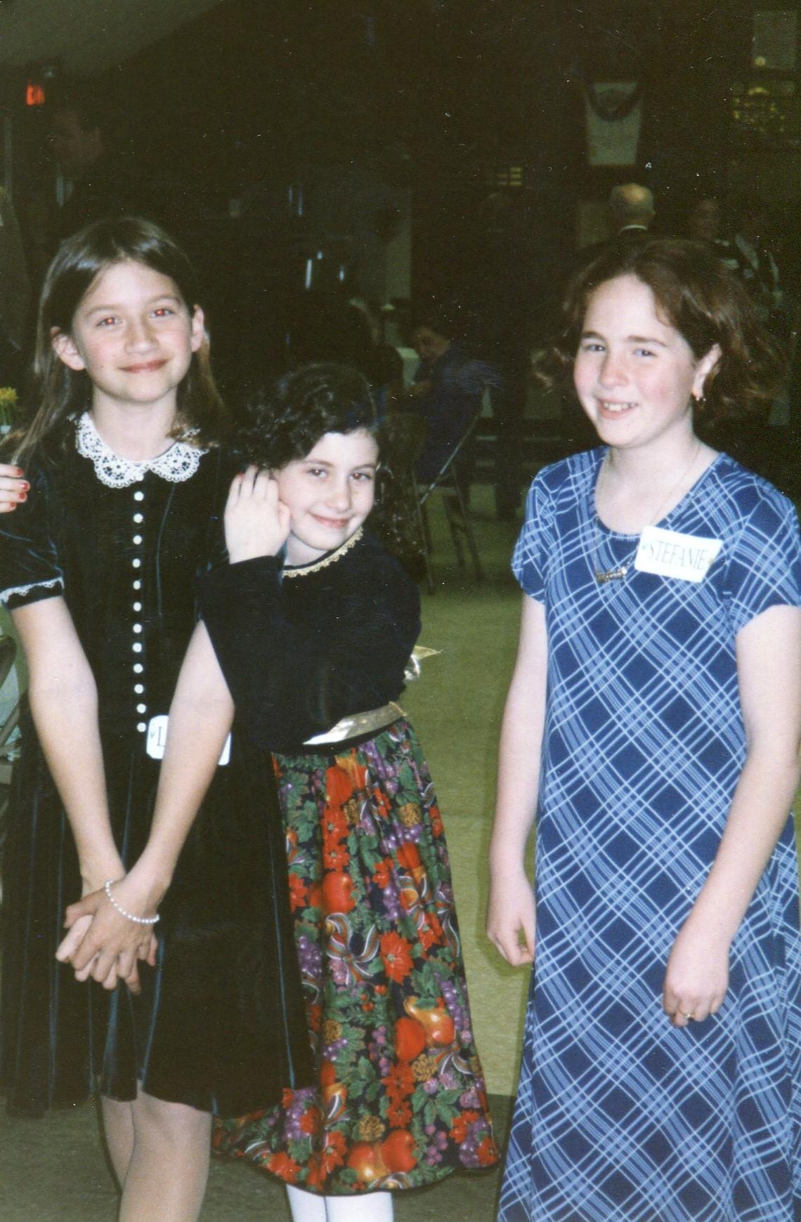 with cousins Lizzie and Stefanie