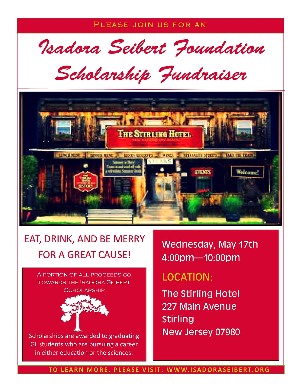 SAVE THE DATE! Stirling Hotel Community Supper on May 17th (4-10 PM) will be donating proceeds from the evening to the Isadora Seibert Scholarship Fund. The scholarship is awarded to graduating GLHS seniors pursuing careers in science or education. Isadora Seibert was a science teacher, coach, and club advisor at GL who passed away in 2014 at the age 25. Since 2014, 14 graduating seniors have benefited from the scholarship. To learn more about the Isadora Seibert Foundation, visit www.isadoraseibert.org. Thank you in advance for your support.