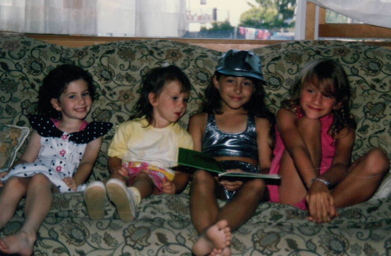 with cousins Emily, Rachel, Lizzie