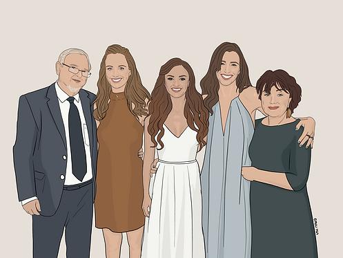 5 person customized illustration