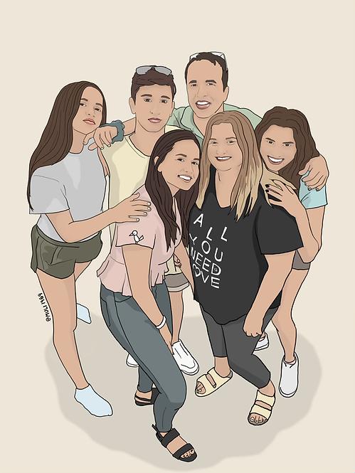 6 person customized illustration