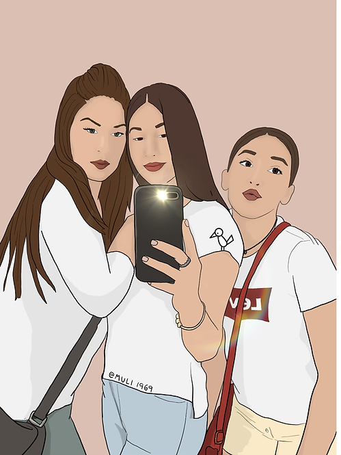 3 person customized illustration