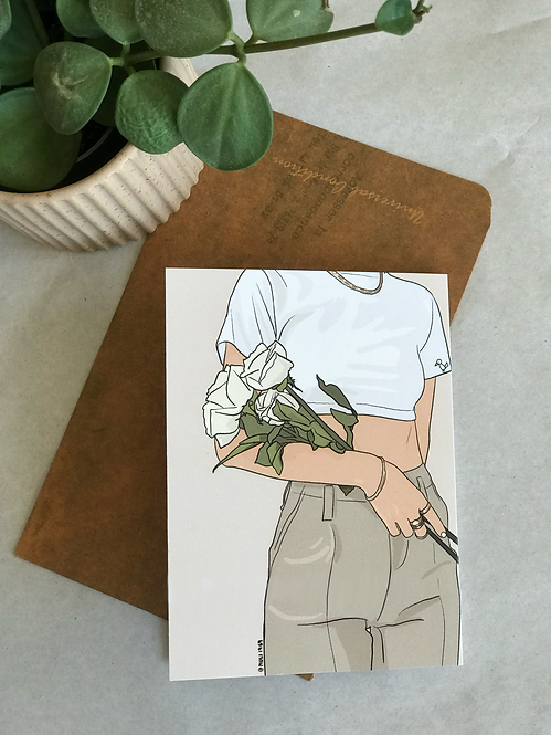 Greeting card   illustrated greeting cards   white roses