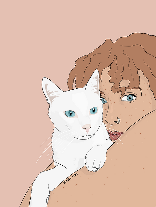 you n your pet customized illustration