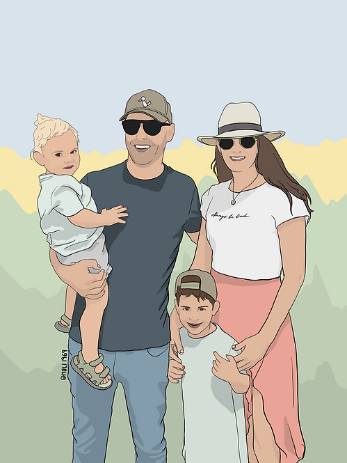 4 person customized illustration