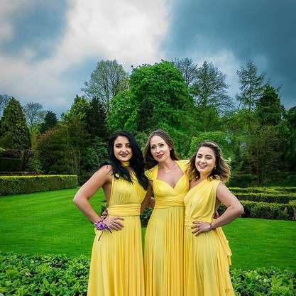 Our gorgeous bridesmaids wearing our yel