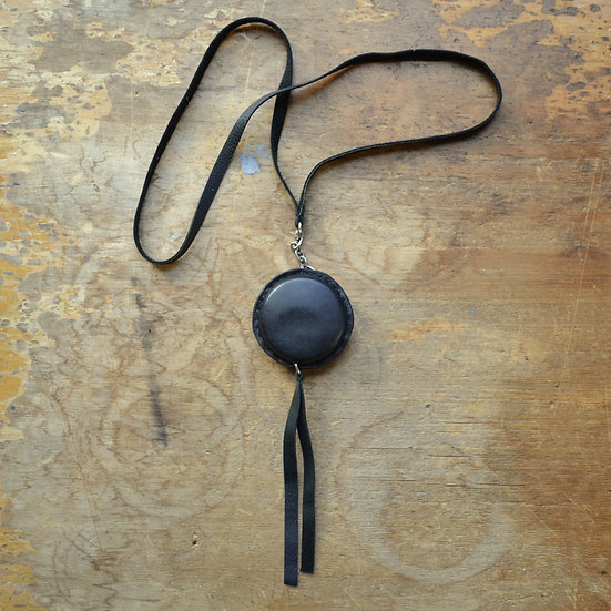 LEATHER COVERED MEASURING TAPE NECKLACE