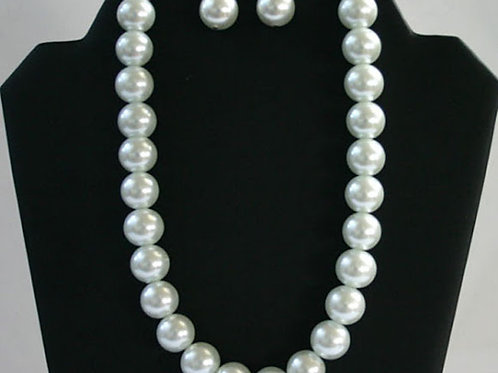 J&J-100- Glass Pearl Necklace and Earring Set