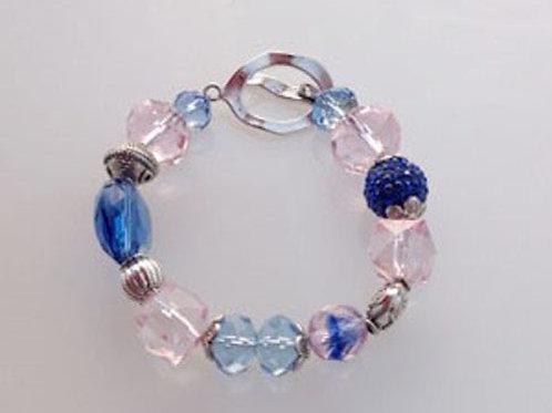 J&J-201-Blue and Pink Crystal Bracelet