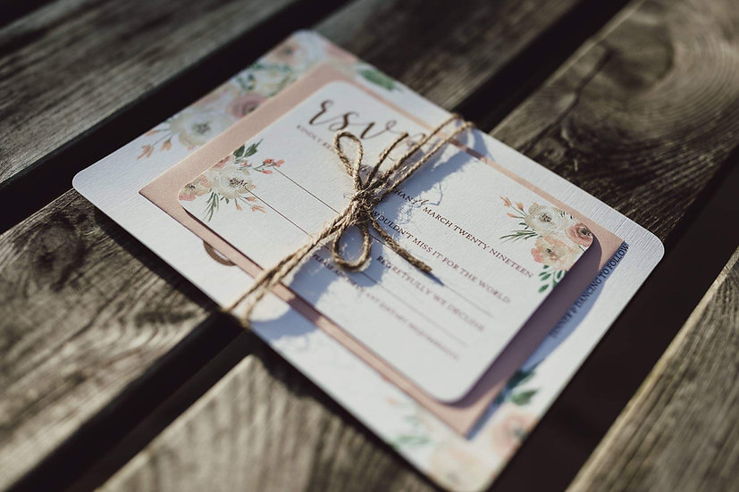 Blush Blossoms Wedding Invitation Suite