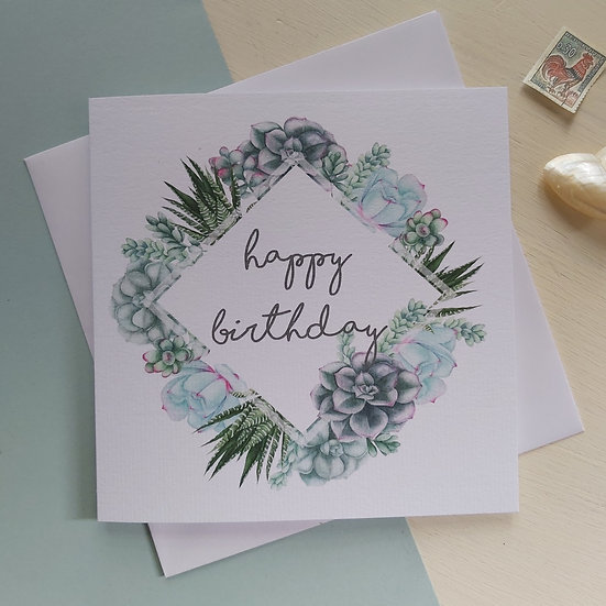 Succulent Collection Happy Birthday Card