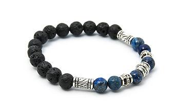 Bracelet Lapiz Lazuli + pierre de Lave h
