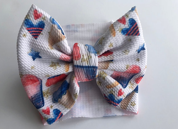Red, White, and Cone- Headwrap