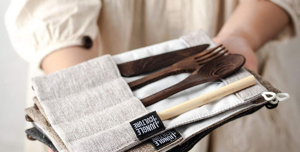 Jungle Straws - Reusable Dark Wood Travel Cutlery Utensil Set