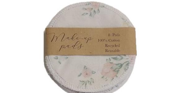 Reusable Cotton Makeup Pads - White Floral 8 Pack