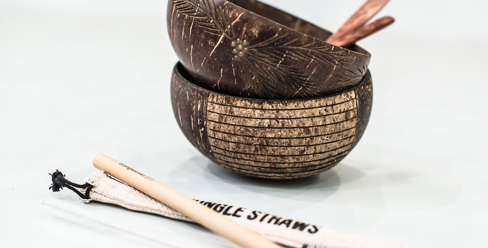 Coconut Bowls + Spoons Set with Bamboo Straw