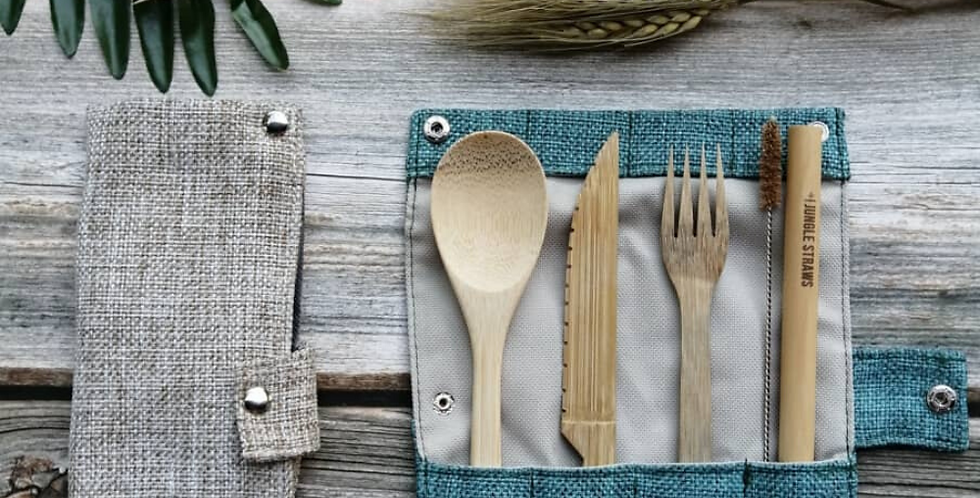 Jungle Straws - Reusable Bamboo Cutlery Set with Travel Pouch