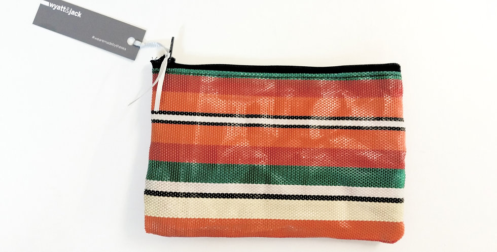 rA5 Deckchair Pouch Zip Bag - Multi with Plain Red Reverse