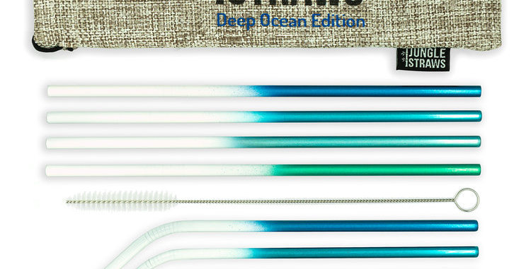 Jungle Straws - Deep Ocean Edition Dip-Dyed Metal Straw Set