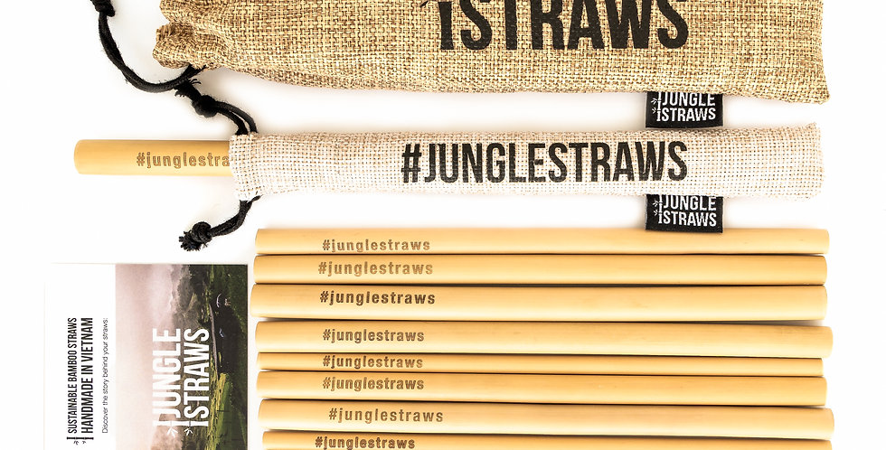 Jungle Straws - Pack of 12 Reusable Bamboo Straws