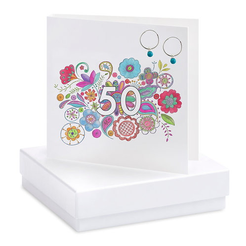 Boxed Boho 50th Earring Card