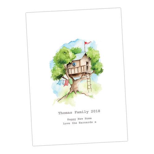 Tree House Personalised Print