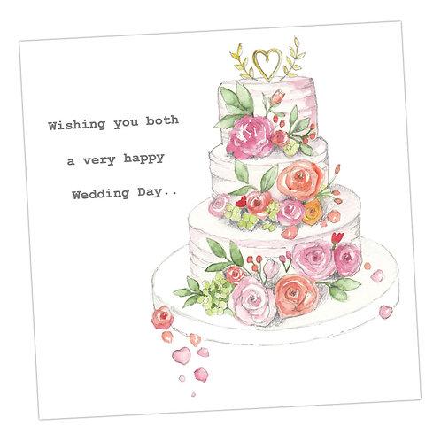 Floral Wedding Cake Card