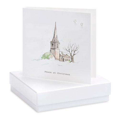 Boxed Christmas Church Earring Card