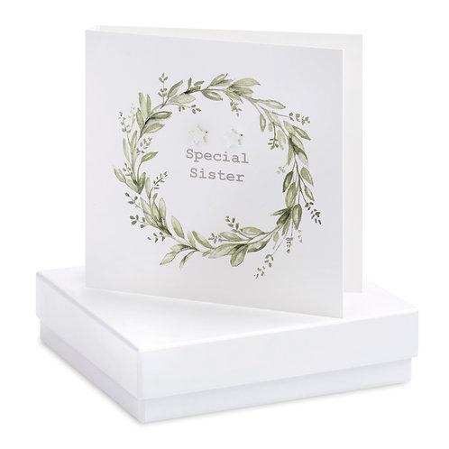 Boxed Eucalyptus Sister Wreath Earring Card
