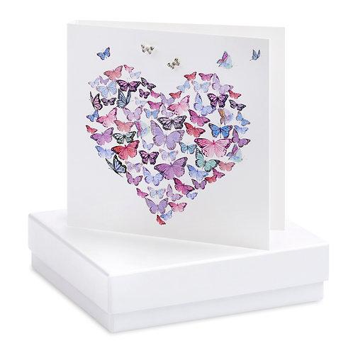 Boxed Butterfly Heart Earring Card
