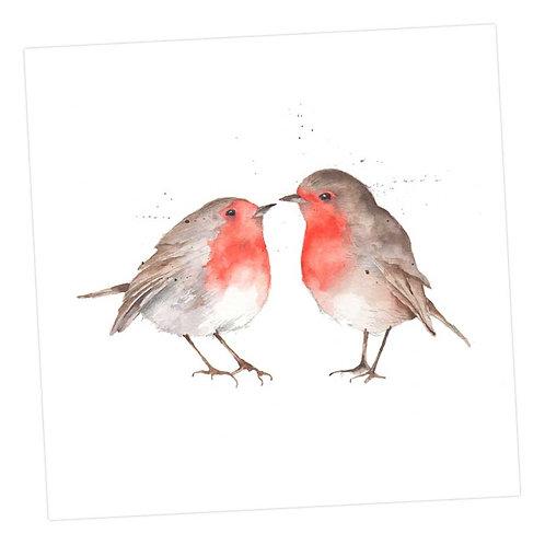 Kissing Robins Card
