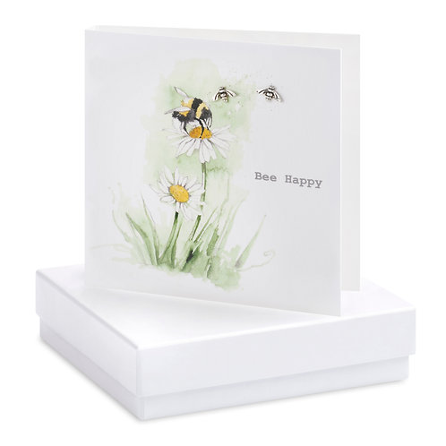Boxed Earring Card Bee On Flower Bee Happy