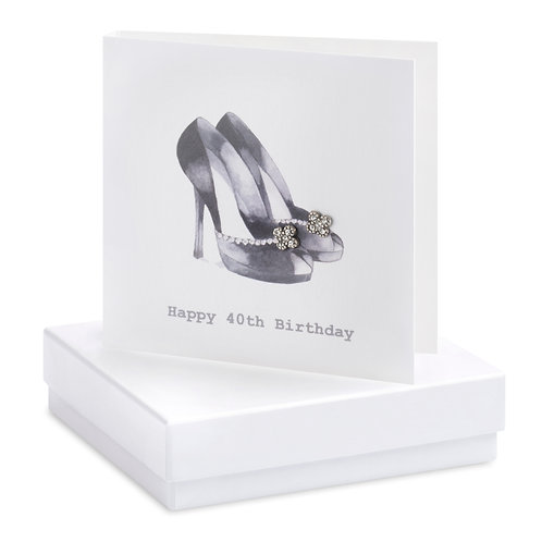 Boxed Earring Card Black shoes 40th