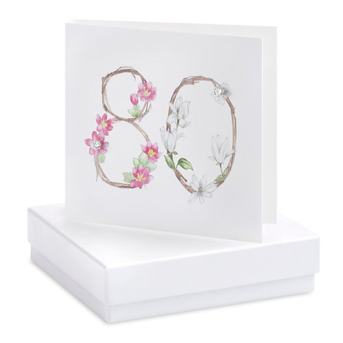Boxed Floral 80th Earring Card