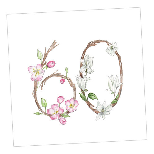 Floral Numbers 60th Card