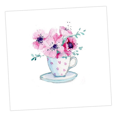 Blank Flowers in a Teacup Card